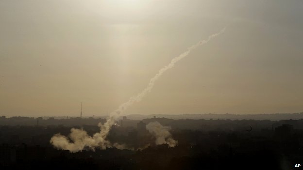 Rocket fired from Gaza City (9 August 2014)