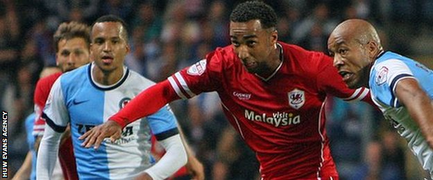 Cardiff City striker Nicky Maynard goes past Blackburn's Alex Baptiste during his side's 1-1 draw at Ewood Park.