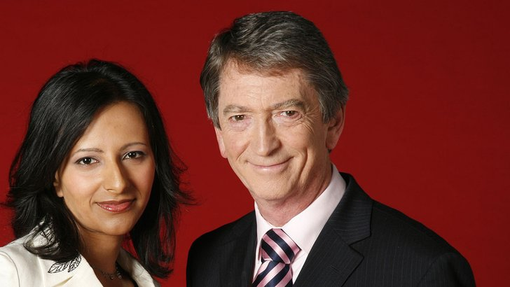 Gordon Burns with former BBC North West Tonight co-host Ranvir Singh