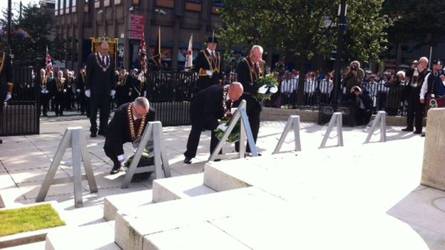 During Saturday's event, wreaths were laid at the cenotaph
