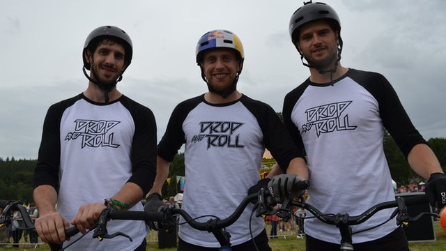 (Left to right) Ali Clarkson, Danny MacAskill and Duncan Shaw