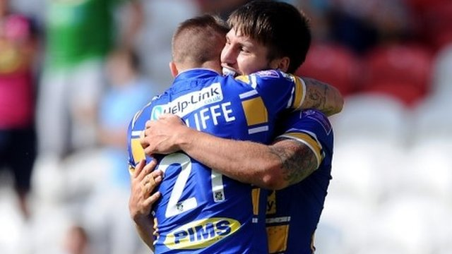 Liam Sutcliffe (left) hugs try-scorer Tom Briscoe