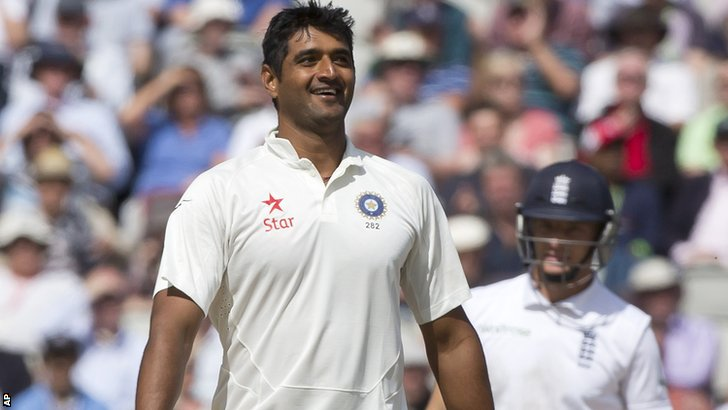 India's Pankaj Singh celebrates his maiden Test wicket