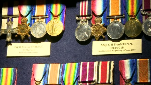Medals on display at the museum