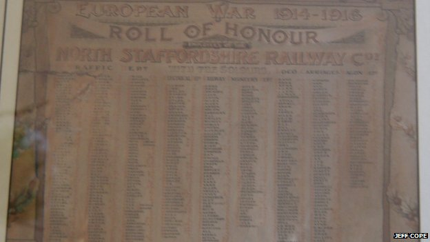 Jeff Cope's roll of honour showing the names of the railway workers that died