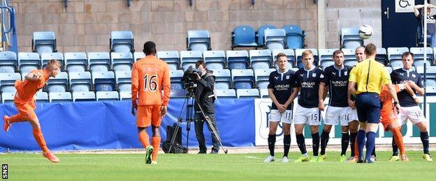 Craig Slater scores for Dundee against Kilmarnock