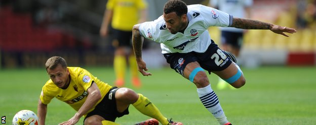 Watford's Almen Abdi and Bolton Wanderers' Craig Davies