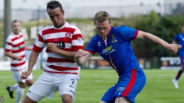 Billy McKay (right) scored the first goal as Inverness beat Hamilton 2-0