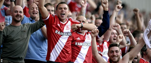 Middlesbrough fans celebrate against Birmingham