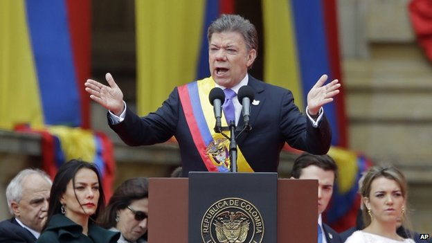 Juan Manuel Santos during inauguration in Bogota, 7 Aug 14
