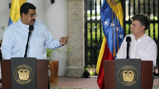 Nicolas Maduro (left) and Juan Manuel Santos (right), Cartagena 1 Aug 2014