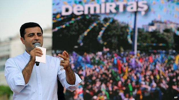 Selahattin Demirtas, Turkish presidential candidate, addresses a rally in Izmir, Turkey. 9 Aug 2014