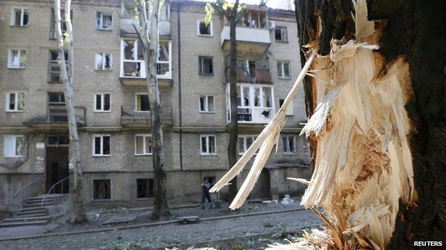 Damage from fighting in Donetsk. 9 Aug 2014