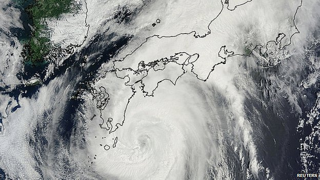 Satellite image of Typhoon Halong over Japan