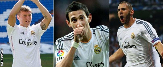 Toni Kroos, Angel Di Maria and Karim Benzema