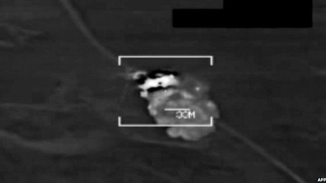 US military video grab of attack on IS target in northern Iraq. 8 Aug 2014
