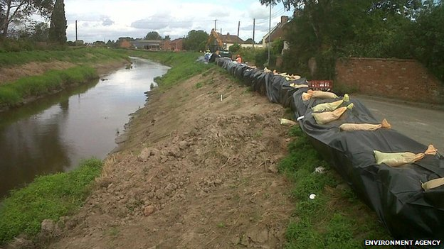 Sandbags in Burrowbridge in Somerset