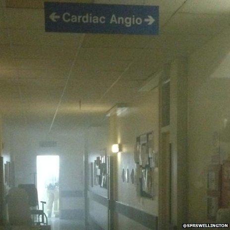 The corridor logged with smoke at Telford's Princess Royal Hospital