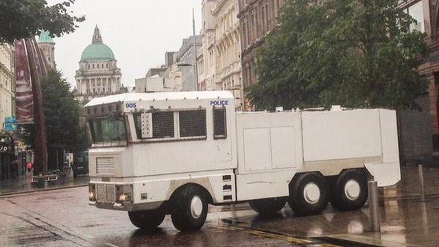 Water cannon was brought into Belfast city centre during the security operation on Sunday