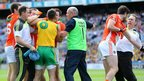 A scuffle breaks out between players and officials during the quarter-final between Ulster rivals Armagh and Donegal at Croke Park in Dublin