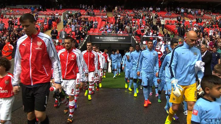 The teams come out at Wembley