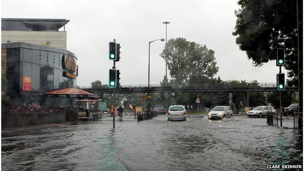 Flash flooding in Chelmsford, Essex