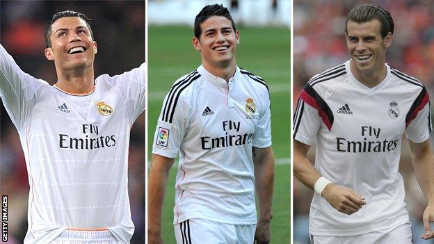 Cristiano Ronaldo, James Rodriguez and Gareth Bale