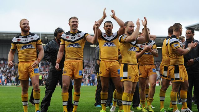 Castleford Tigers players celebrate their Challenge Cup semi-final win