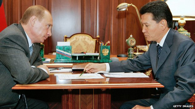 Kirsan Ilyumzhinov, right, with Russian President Vladimir Putin. Aug 2006