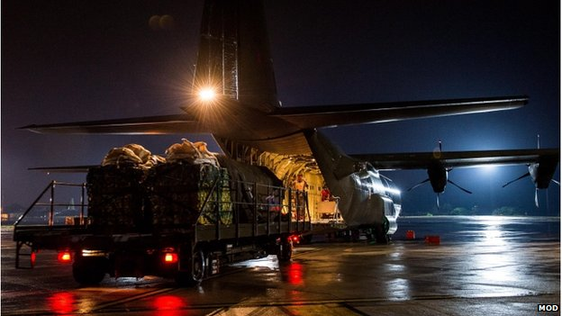 Humanitarian aid being loaded onto a Hercules C130 transport plane at RAF Brize Norton