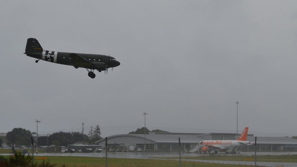 C-47 Dakota lands at Inverness Airport