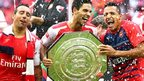 Arsenal's Santi Cazorla, Mikel Arteta and Alexis Sanchez