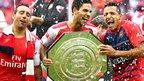 Arsenal's Santi Cazorla, Mikel Arteta and Alexis Sanchez
