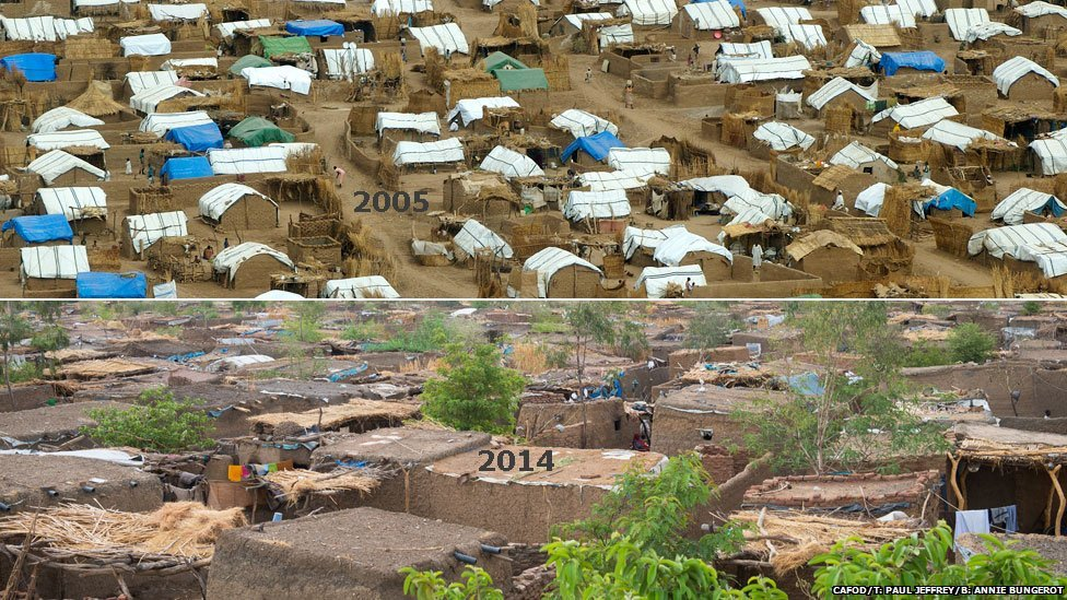 Top: A displacement camp near Zalingei pictured in 2005, Darfur, Sudan Bottom Khamsa Dagiag displacement camp pictured in 2014, Darfur, Sudan