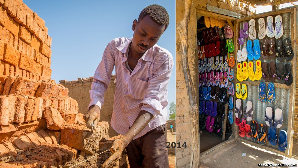 L: A man making bricks in Hamadia camp in Darfur, Sudan R: A shop selling shoes in Hamadia camp in Darfur, Sudan - both 2014
