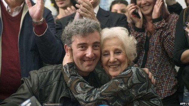 Estela de Carlotto (R) hugs her grandson Ignacio Hurban