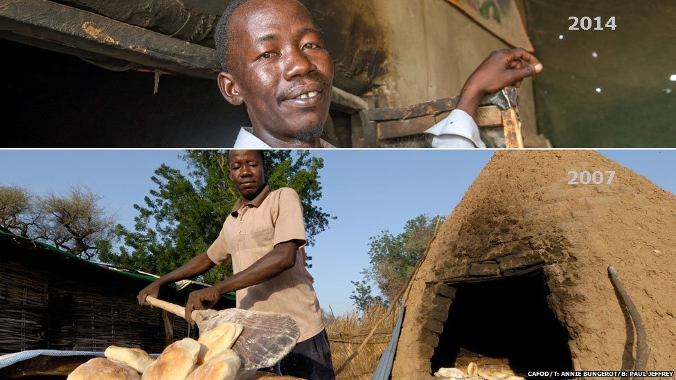 Top: Yousif pictured in 2014 in Aslam camp in Darfur, Sudan Bottom: Yousif pictured making bread in Hassa Hissa camp in Darfur, Sudan in 2007