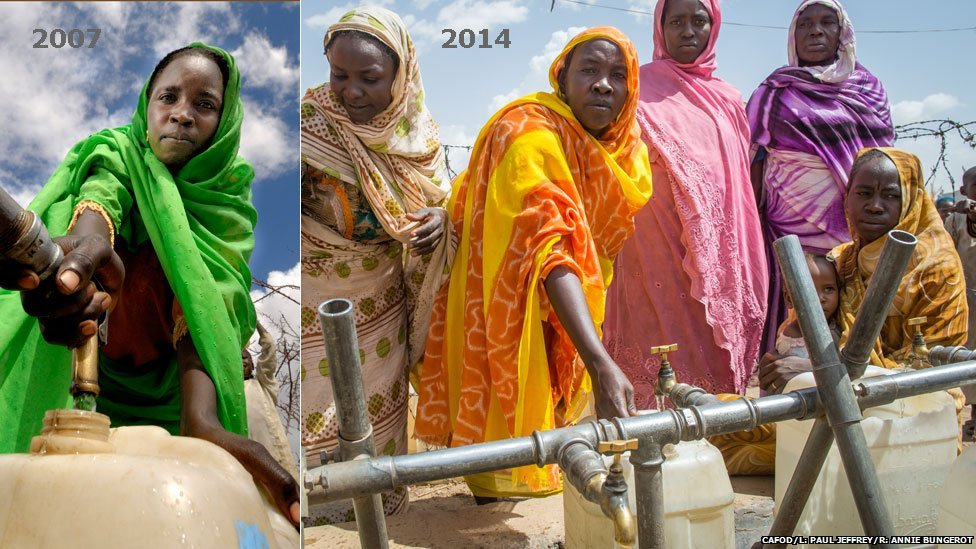 L: Rawia at a water pump in Hassa Hissa camp in Darfur, Sudan, in 2007 R: Rawia, wearing orange, pictured at a water pump in Hassa Hissa camp in Darfur, Sudan, in 2014