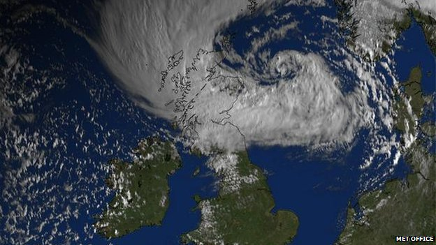Met Office satellite image showing storm over Scotland and the North Sea