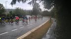 Torrential rain and grey sky as cyclists battle the elements, about twenty of them in view, all wearing brightly coloured sports clothes. Green trees line the road.
