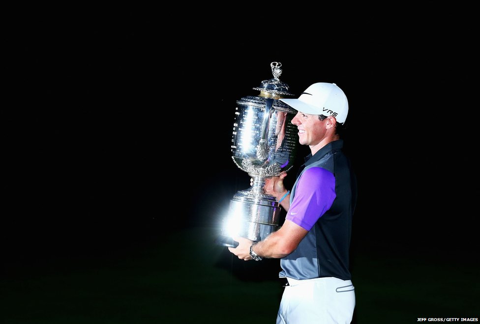 Rory McIlroy of Northern Ireland poses with the Wanamaker trophy
