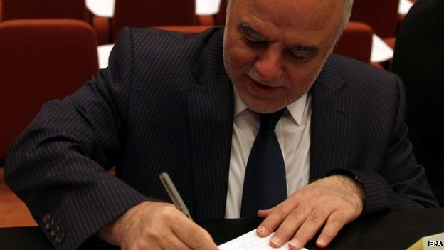 A file picture dated 1 July 2014, showing Iraqi lawmaker Haider al-Abadi