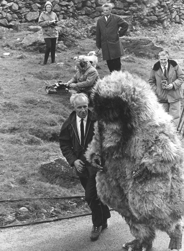 BBC Wales News team cameraman Ted Brown talking to the Yeti