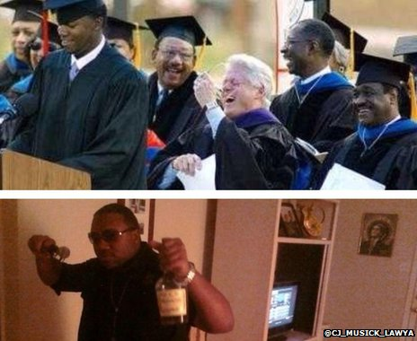 A picture of a black man making a graduation speech, and another dressed up as Kanye West