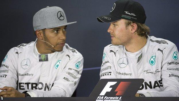 Mercedes duo Lewis Hamilton (left) and Nico Rosberg