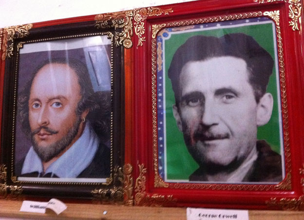 Portraits of Shakespeare and Orwell