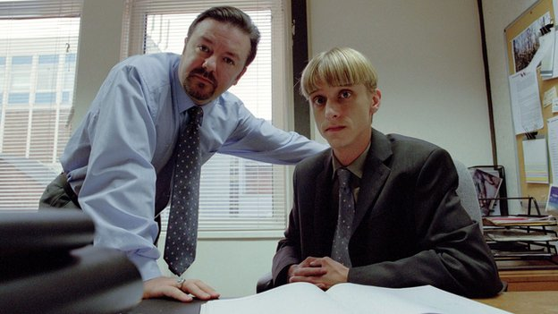 Ricky Gervais and Mackenzie Crook in The Office