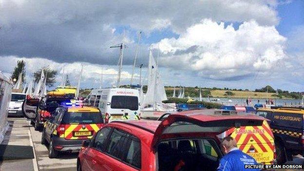 Emergency services at the scene of the incident at Strangford Lough