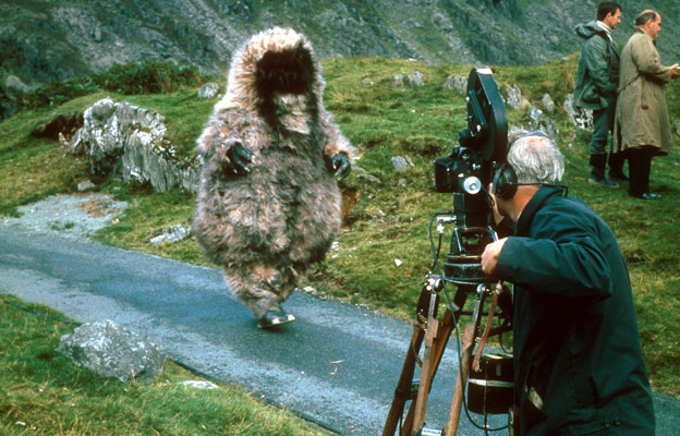 Reg Whitehead as the Yeti filming on location