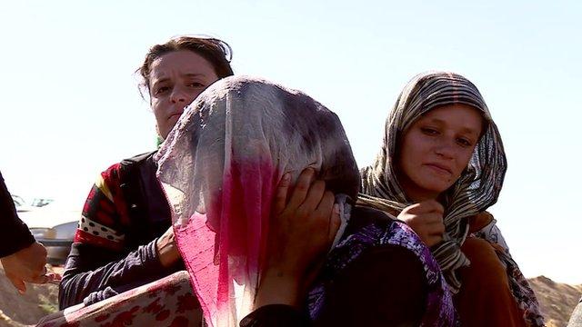 Families fleeing the turmoil